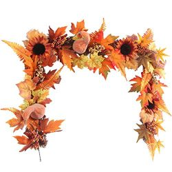 MIS1950s LED Lighted Fall Autumn Pumpkin Maple Leaves Handmade Garland 5.58ft Home Decor for Tha ...