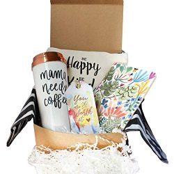 Special Birthday Gift Basket Box for Her- With a Mom life Coffee Travel Mug, Fancy Notebook,Spac ...