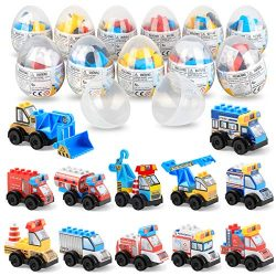 SmilePowo Building Bricks Building Blocks Surprise Egg with Mini Car Vehicle Toy Inside, 12 Pack ...