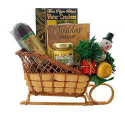 Gourmet Cheese and Meat Christmas Gift Basket Sleigh