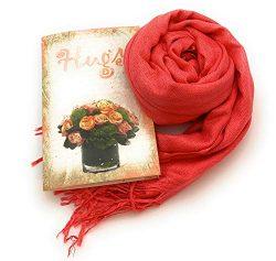 Smiling Wisdom – Coral Hugs Scarf Gift Set – Peach Pashmina Shawl- Retro Paisley Des ...