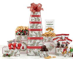 Deck the Halls Six Tier Festive Celebration Gift Tower With Chocolate, Snacks Cookies Candy and Nuts