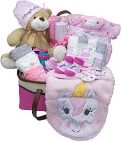 Joyful Arrival Deluxe Baby Gift Set (Girl or Boy) – Diaper Organizer, Baby Clothes & M ...