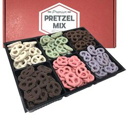 Chocolate and Yogurt Covered Pretzels Gift Box by Coco's Gift Baskets. 6 Assorted Flavors. ...