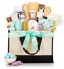 GiftTree Tranquility Spa Collection Gift Basket   Relaxing Gift of Bath Salts, Fragranced Soaps, ...