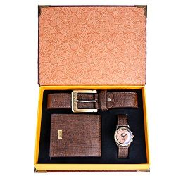 Souarts Gift for Men-Watch Set for Men Artificial Leather Watch+Rachet Belt+Wallet Gift Set with ...
