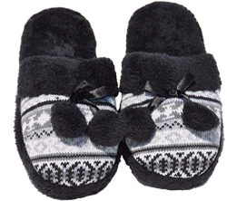 Terry Black Colorful Fancy Wide Flat Foot Fleece Lined Closed Toe Slip On House Warm Winter Slip ...