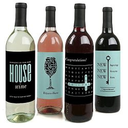 Home Sweet Home – Housewarming Gift for Women and Men – Wine Bottle Label Stickers & ...