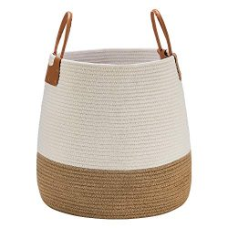 Large Rope Storage Basket, 17×17″Decorative Blanket Jute Cotton Basket Tall Woven Lau ...