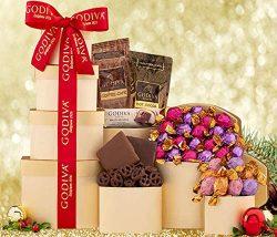 LA Signature Godiva Chocolatier Gift Basket & Tower Gold With Godiva Signature Gift Bag & ...