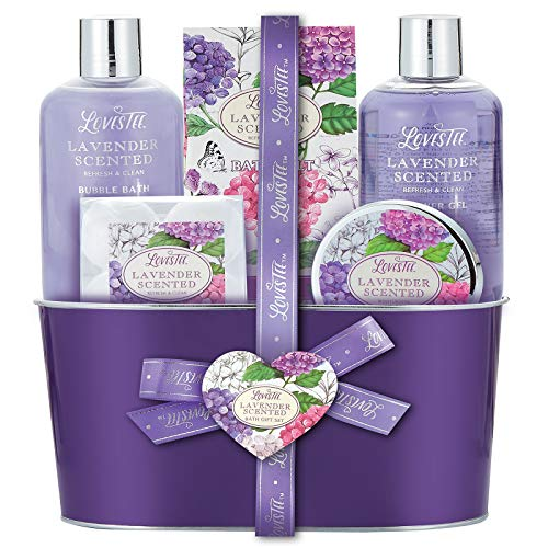 Bath and Body Spa Gift Basket for Women & Girls, Relaxing at Home Spa Kit, Lavender Bath Gif ...