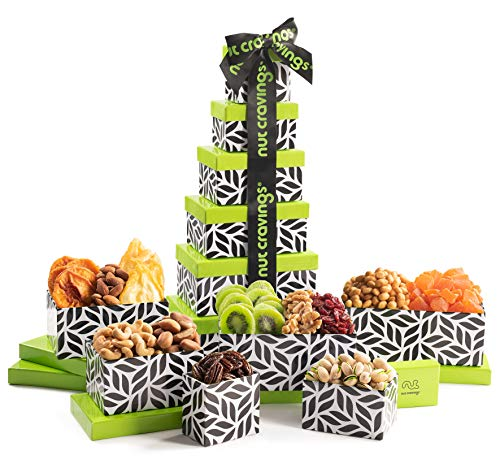 Holiday Nut and Fruit Gift Tower – Gourmet Mix of 12 Assorted Nuts & Dried Fruits Snac ...