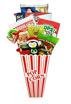 Movie Night Popcorn and Christmas Candy Gift Basket Plus Free Redbox Movie Rental Code Gift R ...