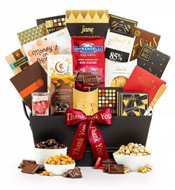 GiftTree The Manhattan Thank You Gourmet Gift Basket | Godiva, Moonstruck, Lindt & Ghirardel ...