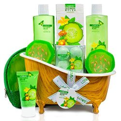 Home Spa Bath Basket Gift Set – Aromatherapy Kit for Men & Women – Natural Cucum ...