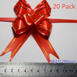 Red Christmas Gift Pull Bows – 6 Sizes, Pack of 20, Wreath, Garland, Valentine's Day ...
