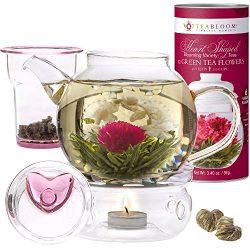 Teabloom Flowering Tea & Teapot Gift Set – 36 oz Glass Teapot, Heart-Topped Lid, Tea W ...
