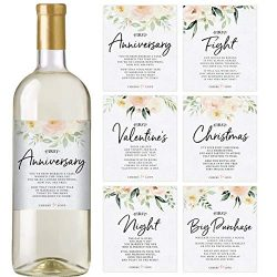Floral Wedding First Wine Bottle Labels, Set of 6 Waterproof Labels, Wedding Gift, Marriage Mile ...