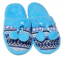 Terry Teal Colorful Pompom Fancy Wide Flat Foot Fleece Lined Slip On Indoor House Home Adult Lad ...