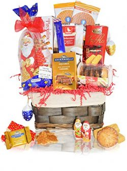 Candy & Chocolate Gifts Christmas Basket – Santa, Chocolate, Gourmet, Food, Holiday Gi ...