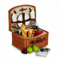 Picnic Plus Willow Picnic Basket With Insulated Cooler, All-in-One Portable Picnic Basket for 2, ...
