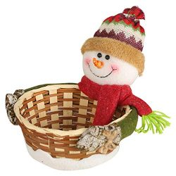 Iusun Merry Christmas Candy Basket Decoration Santa Claus Snowman Dear Bamboo Storage Basket for ...