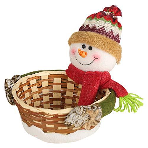 Iusun Merry Christmas Candy Basket Decoration Santa Claus Snowman Dear Bamboo Storage Basket for ...