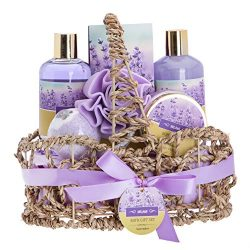 Lavender Bath Spa Gift Basket with Relaxation Gifts for Women: 7 Pc Bath Spa Kit Includes Lavend ...