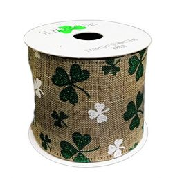 St. Patrick's Day Faux Linen Green Glitter Shamrock Ribbon with Wired Edge 2.5″ x 12 ...