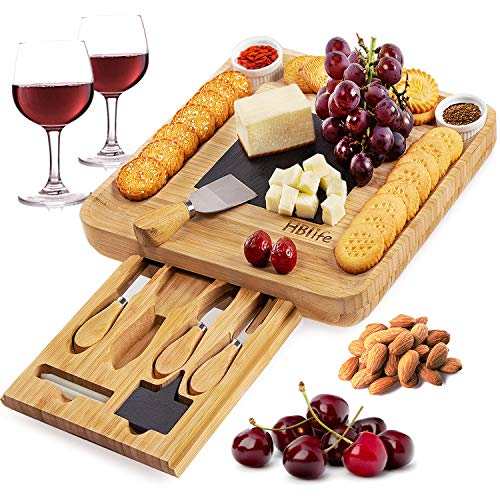 Natural Bamboo Cheese Board & Cutlery Set with Slide-Out Drawer and Knife,Charcuterie Platte ...