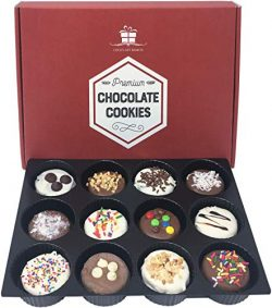 Chocolate Covered Cookies Gift Box. Gourmet Sandwich Cooky. Perfect Gift for the Holidays. 12 Ta ...