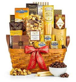 GiftTree As Good As Gold Gourmet Happy Holidays Food & Snack Gift Basket | Includes Almond R ...