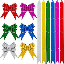 120 Pieces Gift Pull Bows Glitter Pull Bow Christmas Gift Wrap Pull Bows with Ribbon for Christm ...