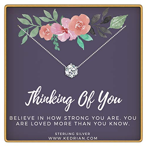 KEDRIAN Thinking Of You Necklace, 925 Sterling Silver, Thinking Of You Gifts For Women,Sympathy  ...