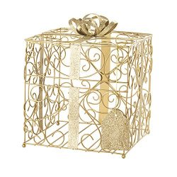 Cathy's Concepts Reception Gift Card Holder – Gold, Metal Construction, Glitter Acce ...