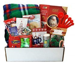 Christmas Gift Basket – Christmas Eve Care Package with Blanket, Book, Cookie Mix & Cu ...