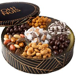 Oh! Nuts Christmas Chocolate Tins Gift Box, Gourmet Candy Basket Holiday Chocolates Covered Pret ...