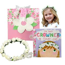Flower Girl Gift Set- Book with Floral Crown Headband Headpiece in Adorable Gift Box – I&# ...