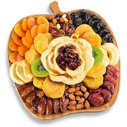 Dried Fruit and Nuts in Bamboo Apple Shape Serving Tray