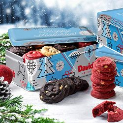 David's Fresh-Baked Winter Wonderland Tin, 0.5 oz Assorted Mini Cookies With Chocolate Chi ...
