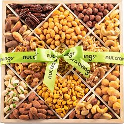 Holiday Mixed Nuts Wood Gift Box – Gourmet 12 Section Assortment of Nuts, Pretzel Pub Mix  ...