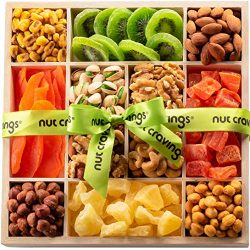 Holiday Mixed Nuts And Dried Fruit Wood Gift Box – Gourmet Assortment of Nuts, Pretzel Mix ...