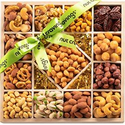 Holiday Mixed Nuts Wood Gift Box – Gourmet 13 Section Assortment of Nuts, Pretzel Pub Mix  ...