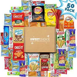 Sweet Choice (50 Count) Ultimate Sampler Mixed Bars, Cookies, Chips, Candy Snacks Box for Office ...