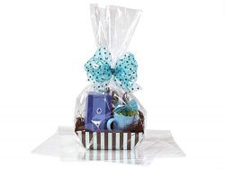 BOPP Sealable Cellophane Bags and Clear Gift Basket Wrap Packaging, 16 in x 24 in, Clear Cello W ...