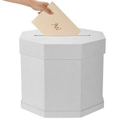 AW Wedding Card Box – Off White Gift Card Box Wishing Well Card Box for Weddings, Receptio ...
