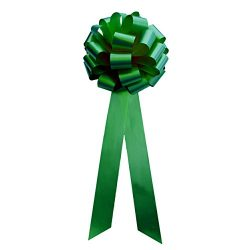 Big Decorative Emerald Green Ribbon Pull Bows with Long Tails – 9″ Wide, Set of 6, C ...