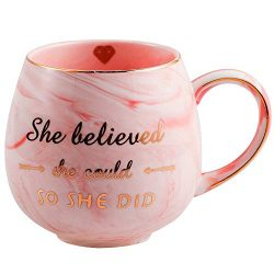 She Believed she could So She Did – Pink Marble Ceramic Coffee Mug 15oz – Gifts for  ...