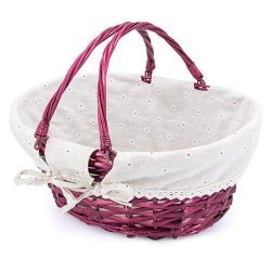 Picnic & Food Service Wicker Basket | Easter Basket | Natural Wicker with Double Folding Han ...