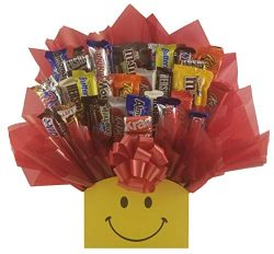 Smiley Face Chocolate Candy Bouquet gift basket box – Great gift for Birthday, Get Well, T ...